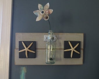 Items Similar To Starfish Wall Hanging Blue And White Wood