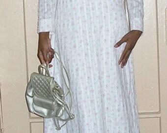 boho wedding dress 1960s vintage white empire floral victorian hippie granny size small 6 8