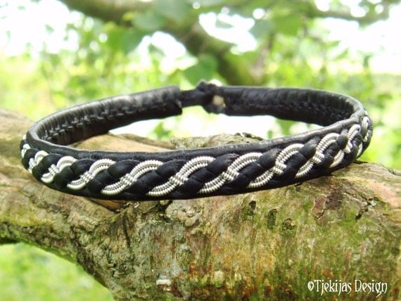 Swedish Sami Bracelet FENRIS Lapland Viking Bracelet Wristband in Black Reindeer Leather with Pewter Braid - Handcrafted Tribal Elegance