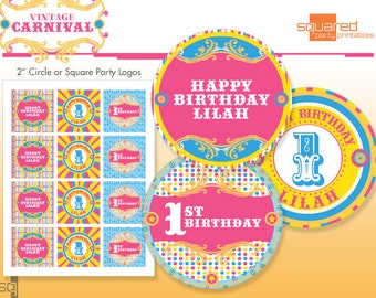 Circus Cupcake Toppers - Printable Birthday Party Circles - Hot Pink, Aqua - DIY Print - Vintage Carnival - Made to Order