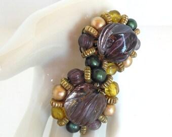 Vintage Karu Clip Earrings Bead Purple Gold 50's (item 12)