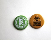 Zombie Outbreak Buttons | Set of 2 | Survivalist Buttons