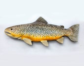 Brown Trout 22'' fish Wood Carving, Christmas gift, Trout art, fishing gift, gift for fisherman, fishermans gift, fly fishing gift, fishing