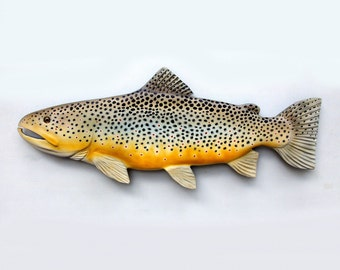 Brown Trout 24'' fish Wood Carving, Christmas gift, Trout art, fishing gift, gift for fisherman, fishermans gift, fly fishing gift, fishing