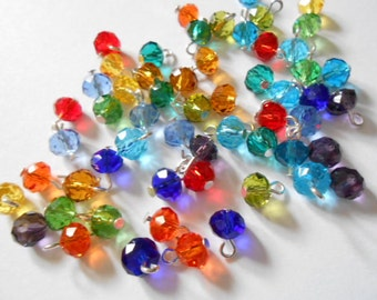Colorful Faceted Rondelle Dangle Beads