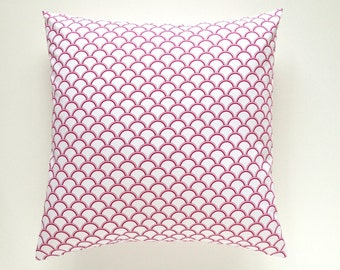 CLEARANCE 70% OFF Pink Scallops Pillow Cover. Radiant Orchid Designer Cushion Cover. 16X16 Inches. Pantone Color of the Year