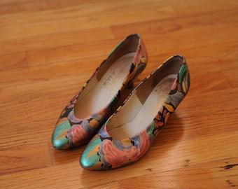 Vintage 60s Metallic Floral Heels by Johansen, Made in USA, Womens 5 1/2 - 6 / ITEM283