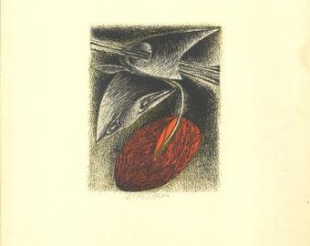 Woodcut Print Original Art by Rimer Cardillo 1972 Limited Edition Wood and Zinc Engraving