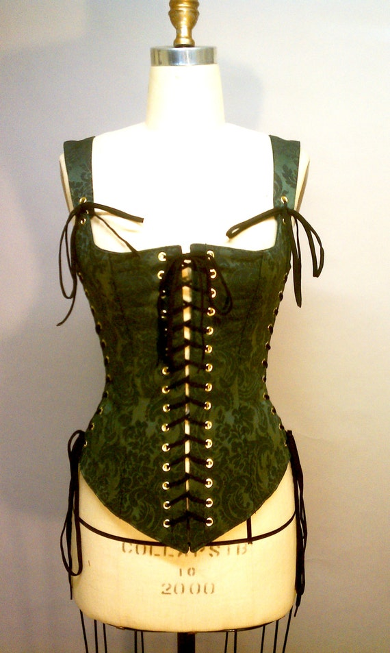 Bewitching Renaissance Bodice Steel Boned Green Brocade