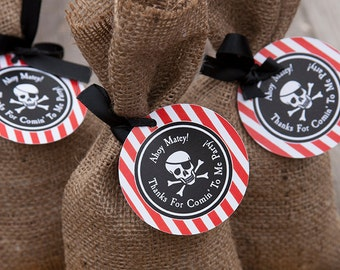 Pirate Birthday Party Favor Tags - Red, Black & White - DIY Printable- INSTANT DOWNLOAD