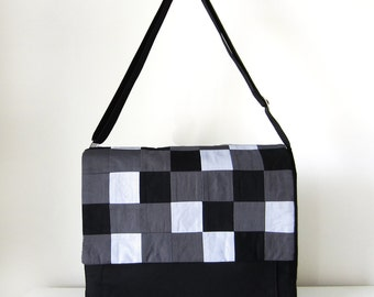 Black Messenger Bag with Geekery Pixel Geometric Square Flap and Adjustable Strap for Cross Body and Pockets