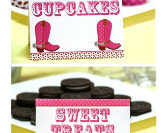 Cowgirl Birthday Party Labels, Instant Download, Printable, Food Tags, Place Cards, Party Signs