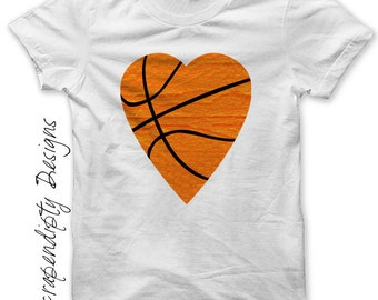Iron on Basketball Shirt - Basketball Heart Iron on Transfer / Boys Sports Tshirt / Toddler Orange Clothes / Baby Basketball Outfit IT297