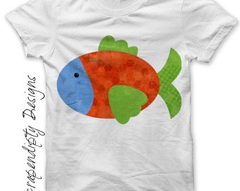 Fish Iron on Transfer - Iron on Ocean Shirt PDF / Kids Fish Shirt / Camping Birthday Party / Personalized Fishing Shirt / Baby Tee IT267