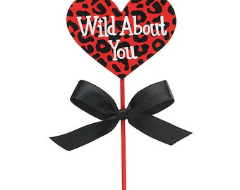 "Hand Painted Cheetah Print ""Wild About You"" 13"" Floral Wooden PICKS Florist Stakes with Bow (Free Shipping!)"
