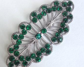 Czech Green Rhinestone brooch Filigree