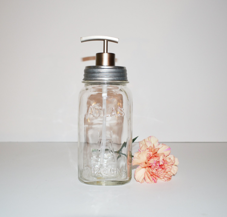 Soap Dispenser Mason Jar Soap Dispenser Vintage Clear Glass