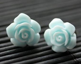 Light Blue Flower Earrings. Baby Blue Earrings. Gardenia Flower Earrings. Bronze Post Earrings. Blue Rose Earrings. Handmade Earrings.