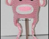 Handmade Crochet Pink Monkey Hat
