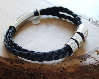 Personalized Leather and Silver Bracelet, Secret Spinning Message Bracelet, Sterling Silver Braided Leather Band - Ryan Bracelet