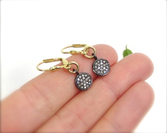 Rustic pave diamond earrings Gold diamond drop earrings Mixed metal diamond earrings Sterling silver & gold earrings - MADE TO ORDER