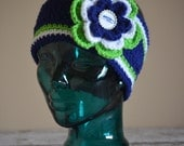 Custom Listin for Candie - Priority Shipping Teen/Adult Seattle Navy Seahawks Flower Earwarmer Headwrap Headband with Bottlecap Logo Center