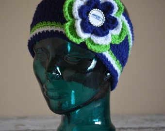 MADE 2 ORDER - 3 sizes Available - Toddler through Adult Seattle Navy Seahawks Flower Earwarmer Headwrap Headband with Bottlecap Logo Center