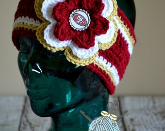 MADE 2 ORDER - 3 sizes Available - Toddler through Adult San Fransisco Forty Niners Flower Earwarmer Headband with Bottlecap Logo Center