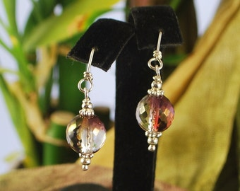Beautiful faceted glass earrings, sterling silver handcrafted earwires, sparkly dangles, SRAJD