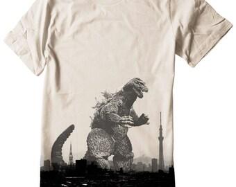 Godzilla T Shirt Japan tokyo skyline skytree tower mt fuji Unisex Tee Shirt Nippon Hand Screenprinted