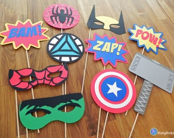 Photo Props: The Marvel Super Hero Set (10 Pieces) - party wedding birthday mask pow wolverine thor spiderman hulk america avengers