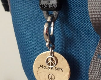 Heart backpack name tag, personalized with peace sign charm