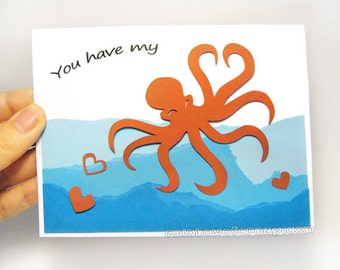 Octopus Card, Anniversary Card, Valentines Day, I Love You, Paper Cut Art, Personalized Name, Custom Message, Blank Card. Heart Greeting