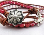 Pink and Crystal Leather Wrap Bracelet with Horse Charm