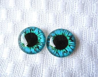 Glass eyes 14mm cabochons