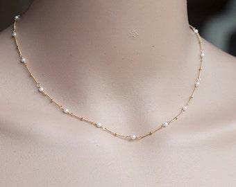 Freshwater Pearl Necklace, Delicate Gold Necklace, Pearl Gold Necklace, Dainty Pearl Necklace, Romantic Weddings, Bridal Jewelry, Bridesmaid