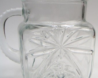 Vintage Glass Pitcher. Medium Size, Pressed Glass