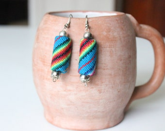Teal/Turquoise Textile Bead Earrings