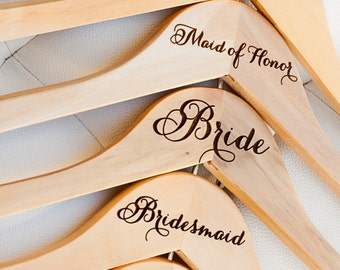 2 - Personalized Bridesmaid Hanger - Engraved Wood