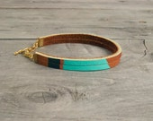 "Leather Bracelet in Brown with Turquoise & Copper | ""The Pecos Handpainted"""