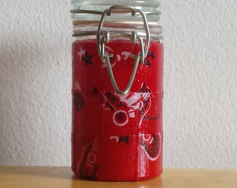 Small Glass Stash Jar : Latch-Top Jar - Western Cowboy Red