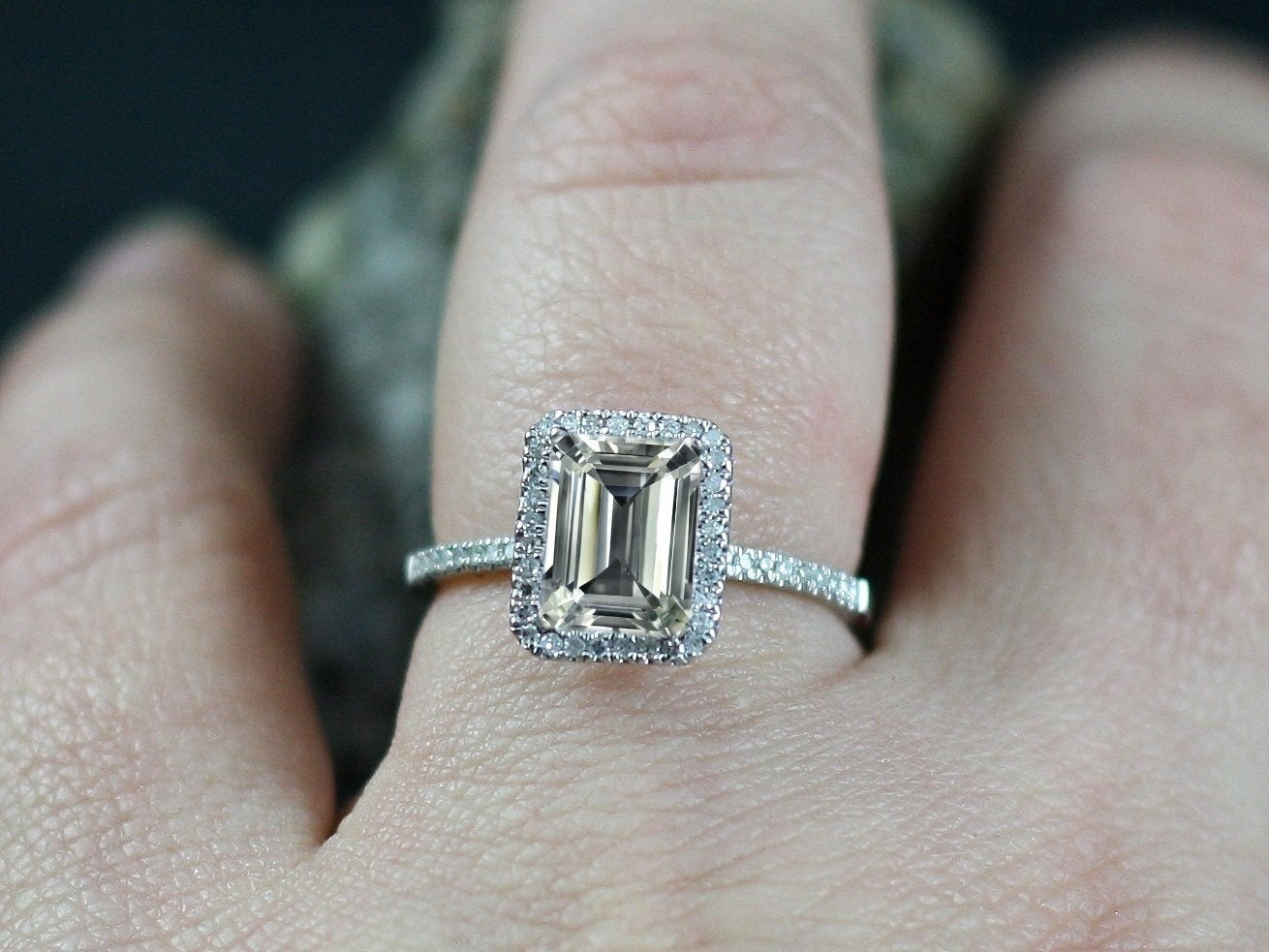 Goshenite Engagement Ring White Emerald cut & Diamonds Halo