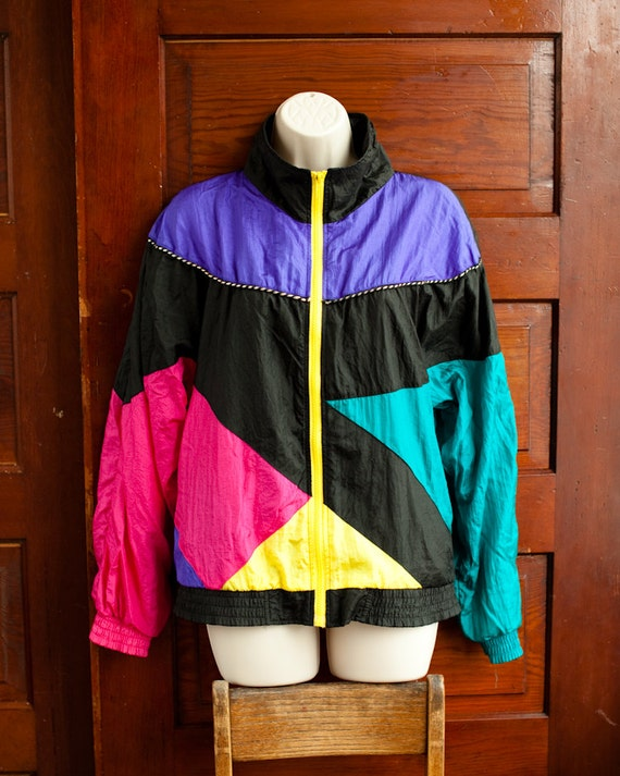 Colorful 80s 90s Windbreaker Jacket