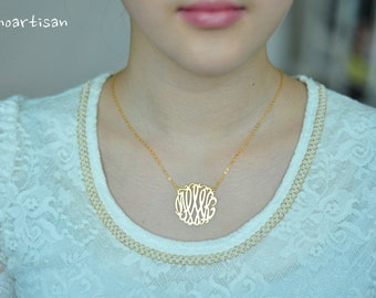 Monogram necklace - 1.25nch Personalized Monogram - 925 Sterling silver 18k Gold Plated