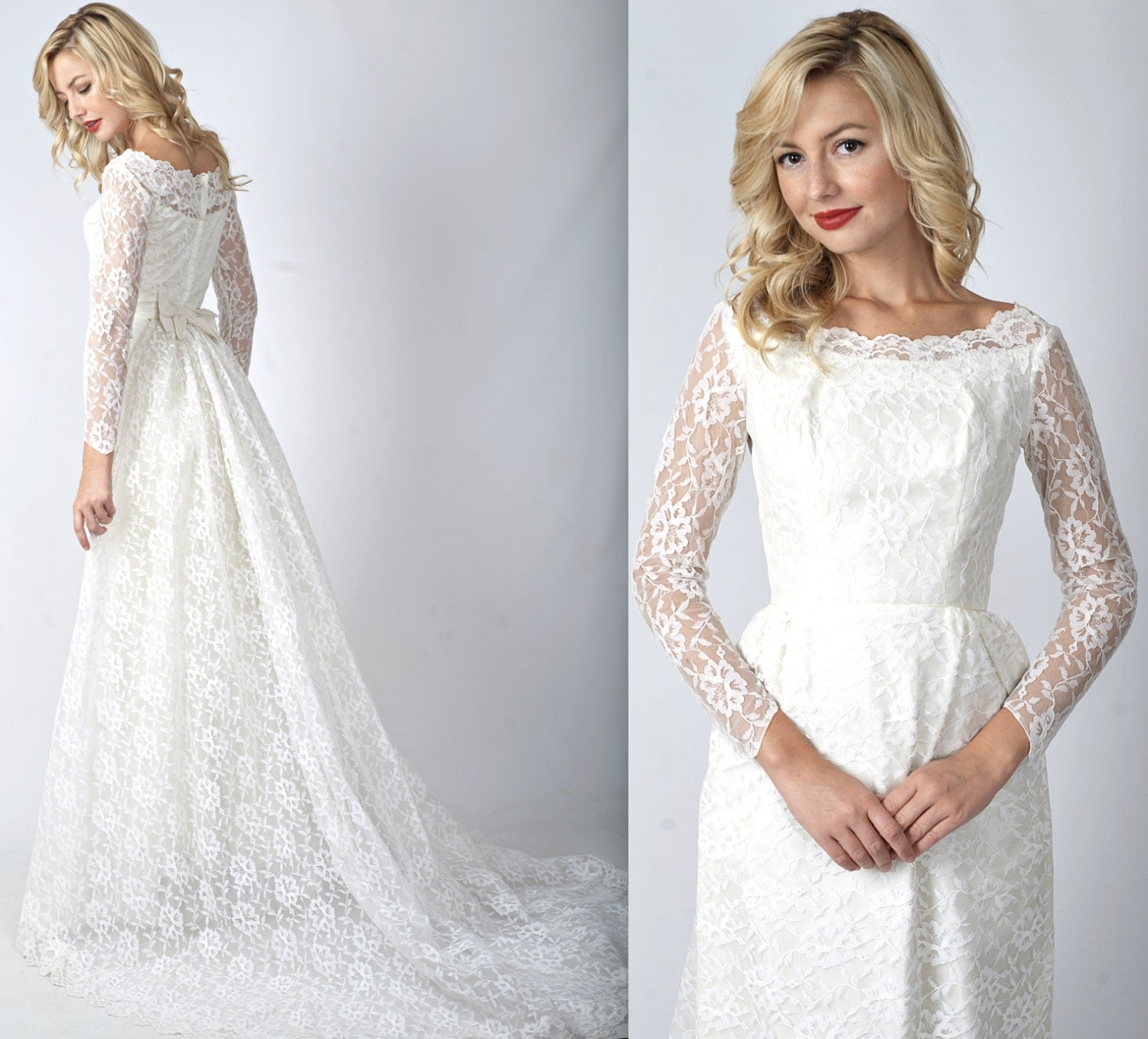 Vintage Wedding Dresses 50s 60s: Vintage 50s 60s White Wedding Dress Lace Train Floral Lace XXS