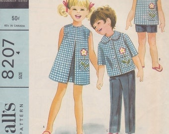 1960s Child's Dress, Top, Shirt, Pants and Shorts Vintage Pattern, McCalls 8207, Front Pleat Dress, Sleeveless Blouse, Flower Applique