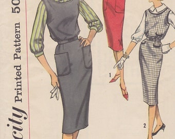 1958 Sheath, Wiggle Dress or Jumper Vintage Pattern, Simplicity 2696, Mad Men Scoop Neck, Darts, Patch Pockets, Peter Pan Collar Blouse