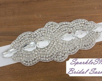 Crystal Bridal Sash, Rhinestone Bridal Sash, Rhinestone Applique, Bridal Dress Sash, Bridal, Beaded Bridal Belt, SparkleSM Bridal,  Abbey