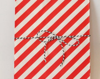 Red and White Stripe Party Favor Bags Red Party Supplies Treat Bags 4th of July Treat Bags Gift Bags Circus Party Red and White / Set of 12