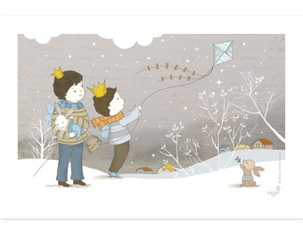 Children's illustration art - Winter Play